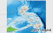 Shaded Relief Panoramic Map of Philippines, political shades outside, shaded relief sea