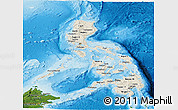 Shaded Relief Panoramic Map of Philippines, satellite outside, shaded relief sea