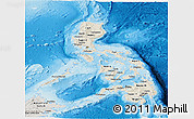 Shaded Relief Panoramic Map of Philippines, semi-desaturated, land only