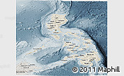 Shaded Relief Panoramic Map of Philippines, semi-desaturated