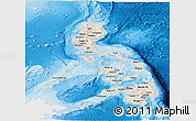 Shaded Relief Panoramic Map of Philippines, single color outside
