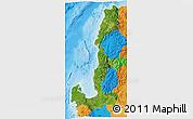 Satellite 3D Map of Region 1, political outside