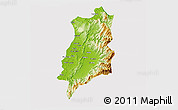 Physical 3D Map of Ilocos Norte, cropped outside