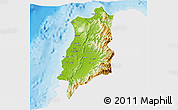 Physical 3D Map of Ilocos Norte, single color outside
