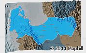 Political 3D Map of Pangasinan, darken, semi-desaturated
