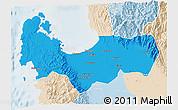 Political 3D Map of Pangasinan, lighten