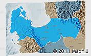 Political 3D Map of Pangasinan, semi-desaturated