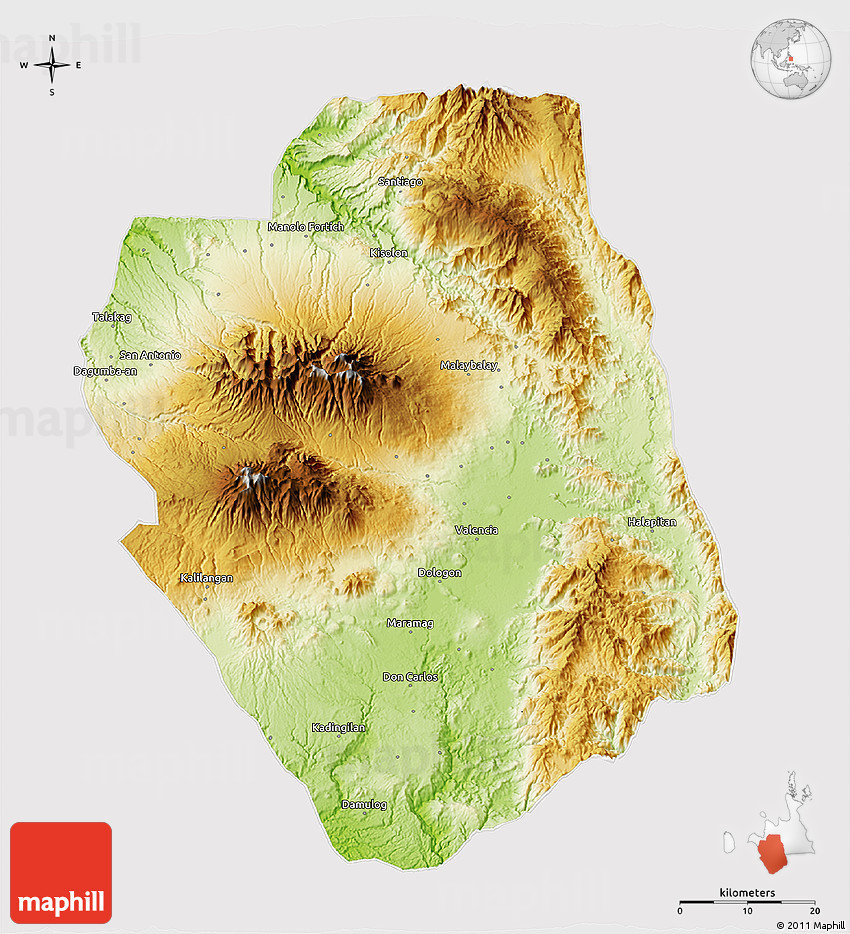 Physical 3d Map Of Bukidnon Cropped Outside