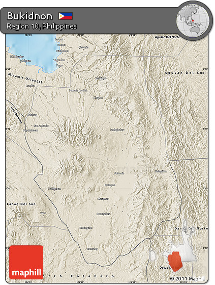 Free Shaded Relief Map Of Bukidnon