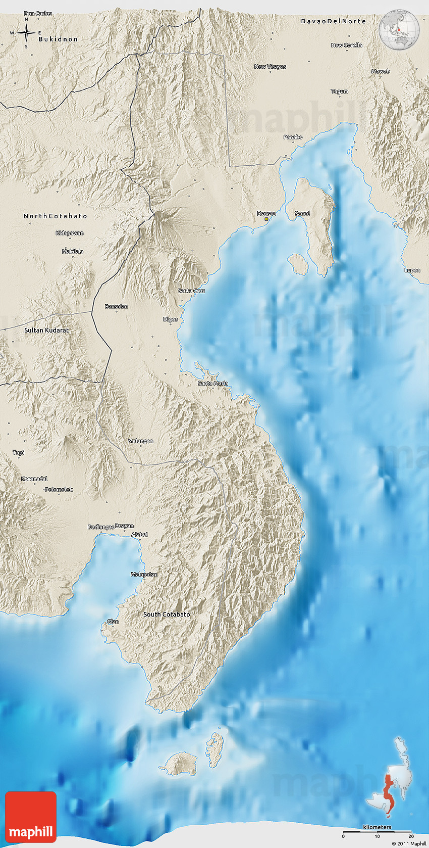 Shaded relief 3d map of davao del sur 2d gumiabroncs Image collections