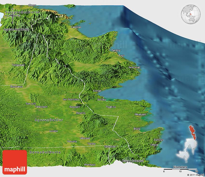 Satellite Panoramic Map of Surigao Del Sur