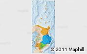 Political 3D Map of Region 2, lighten