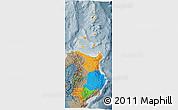 Political 3D Map of Region 2, semi-desaturated