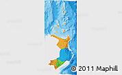 Political 3D Map of Region 2, single color outside