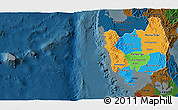 Political 3D Map of Region 3, darken