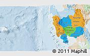 Political 3D Map of Region 3, lighten