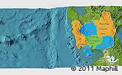 Political 3D Map of Region 3, satellite outside
