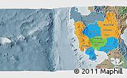 Political 3D Map of Region 3, semi-desaturated