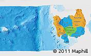 Political 3D Map of Region 3, single color outside