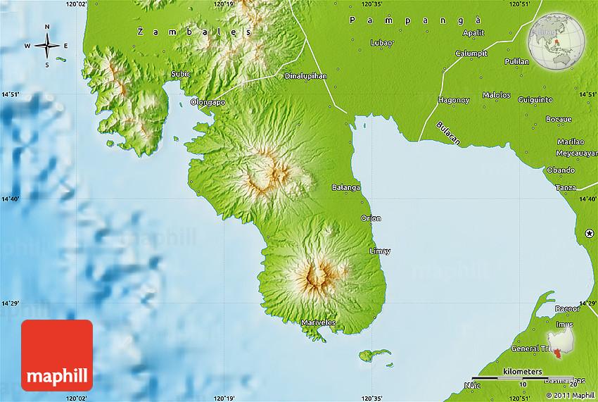 Physical Map Of Bataan
