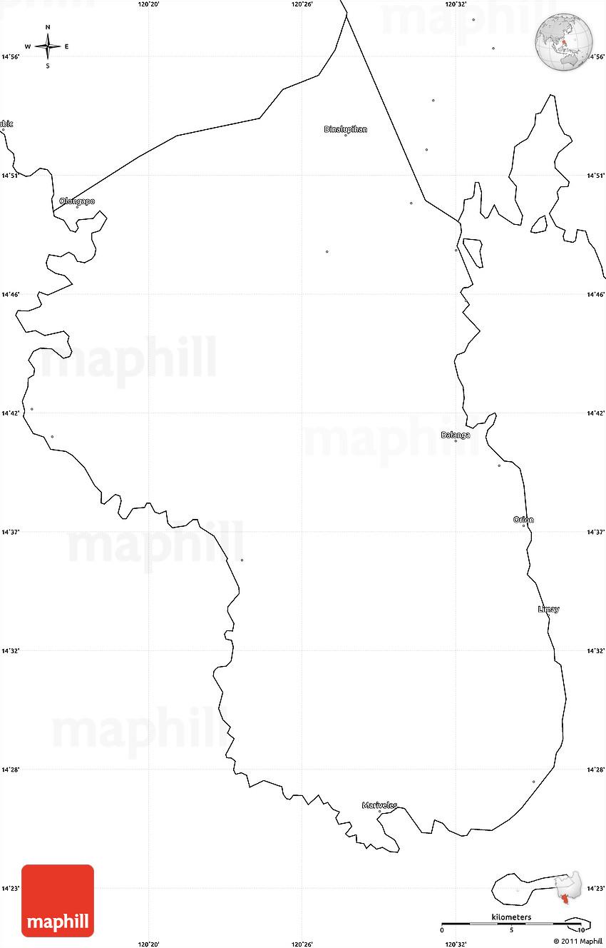 Blank Simple Map Of Bataan