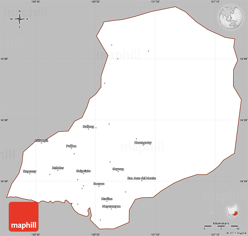 Gray Simple Map Of Bulacan Cropped Outside - Bulacan map philippines