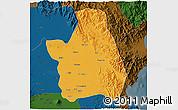 Political 3D Map of Nueva Ecija, darken