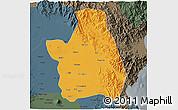 Political 3D Map of Nueva Ecija, darken, semi-desaturated