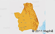 Political 3D Map of Nueva Ecija, single color outside