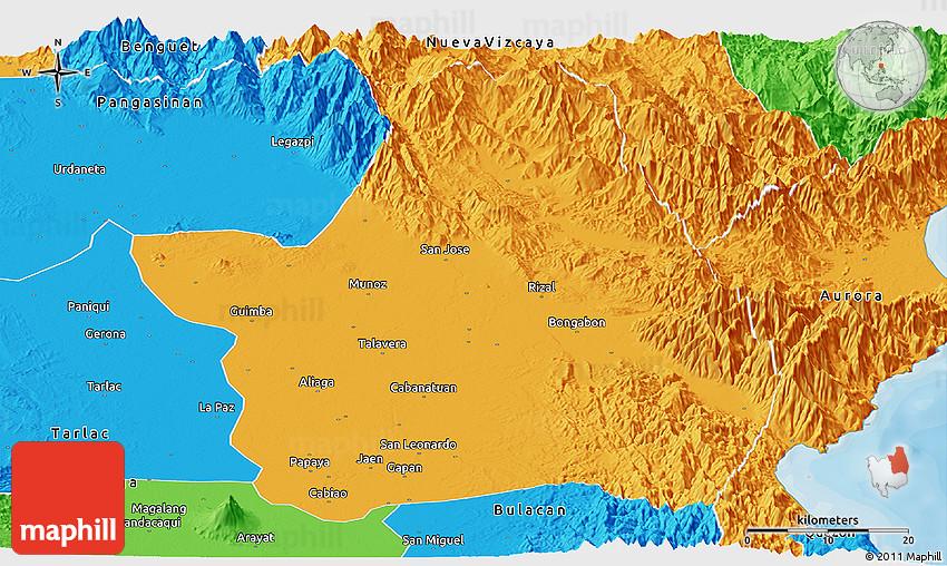 Political Panoramic Map of Nueva Ecija