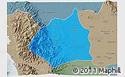 Political 3D Map of Tarlac, semi-desaturated