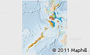 Political 3D Map of Region 4, lighten