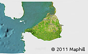 Satellite 3D Map of Cavite, single color outside
