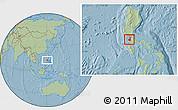 Savanna Style Location Map of Cavite, hill shading