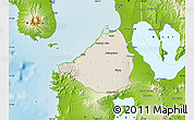 Shaded Relief Map of Cavite, physical outside