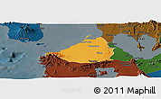 Political Panoramic Map of Cavite, darken