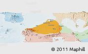 Political Panoramic Map of Cavite, lighten