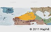 Political Panoramic Map of Cavite, semi-desaturated