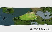 Satellite Panoramic Map of Cavite, darken