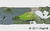 Satellite Panoramic Map of Cavite, semi-desaturated