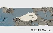 Shaded Relief Panoramic Map of Cavite, darken