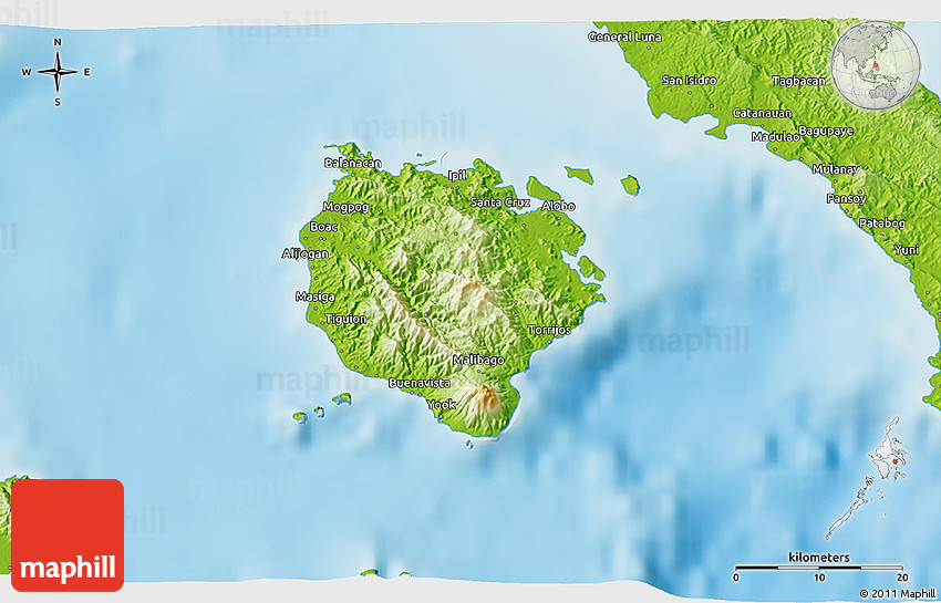 Marinduque Philippines  City new picture : Physical 3D Map of Marinduque