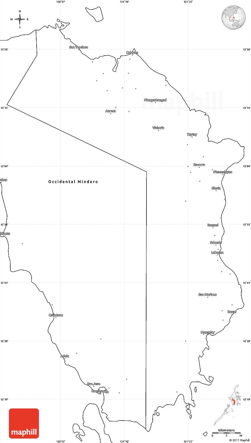 blank simple map of oriental mindoro