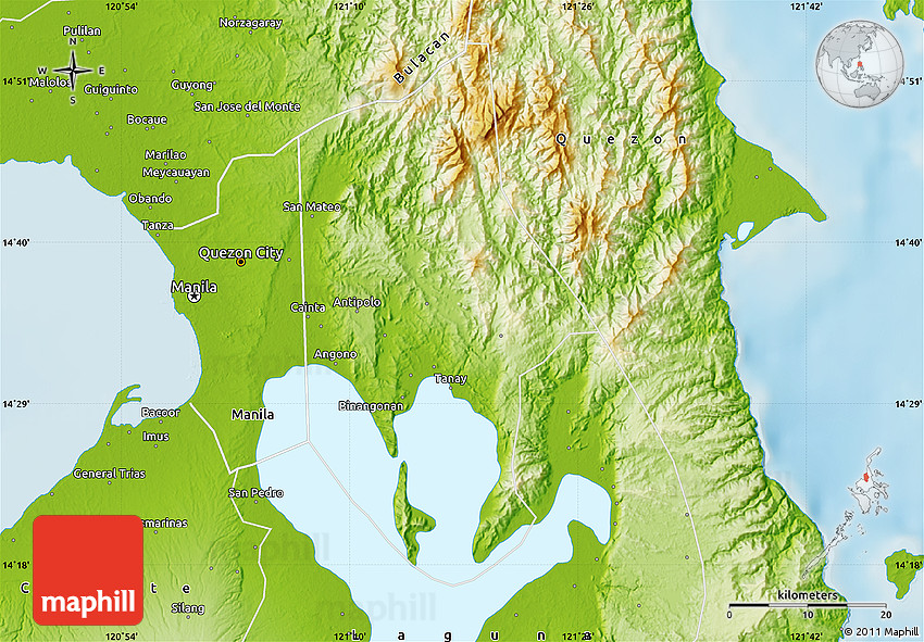 Rizal Philippines Map.Physical Map Of Rizal