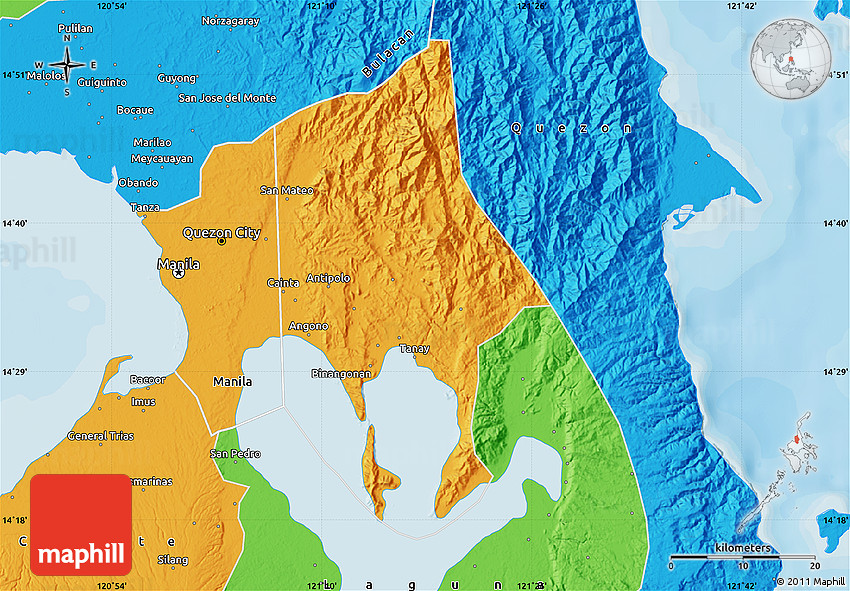 Rizal Philippines Map.Political Map Of Rizal