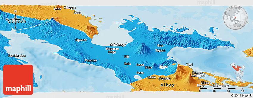 Political Panoramic Map of Camarines Sur