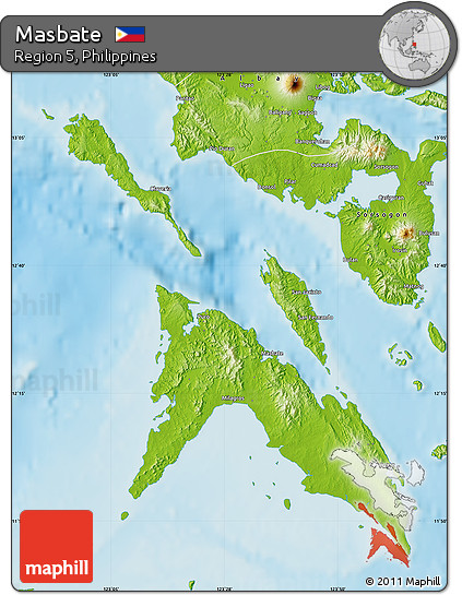 Masbate Philippines Map.Free Physical Map Of Masbate