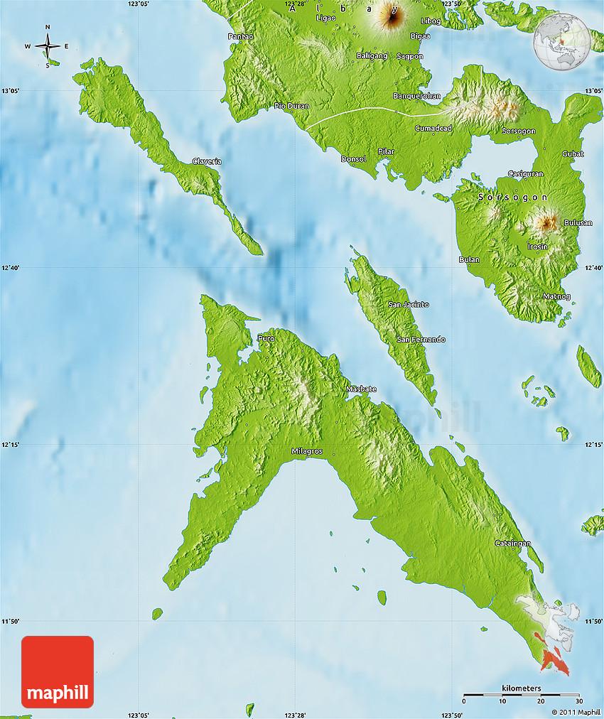 Masbate Philippines Map.Physical Map Of Masbate