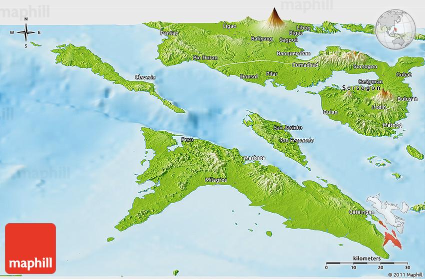 Masbate Philippines Map.Physical Panoramic Map Of Masbate