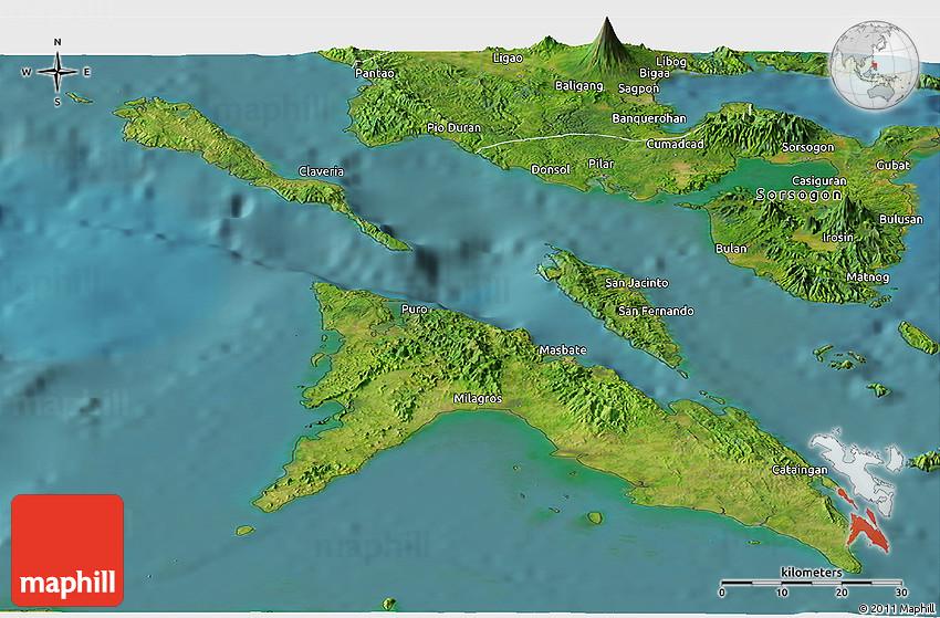 Masbate Philippines Map.Satellite Panoramic Map Of Masbate